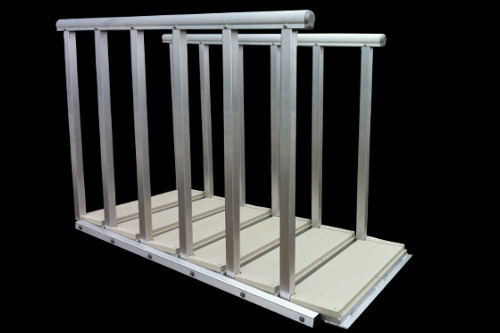 self articulating and adjusting aluminum staircase for docks