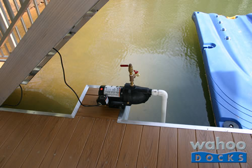 irrigation wash-down pump cantilevered over dock
